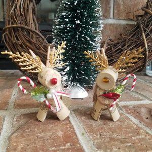Reindeer wine cork ornaments. Set of 2. Rudolph